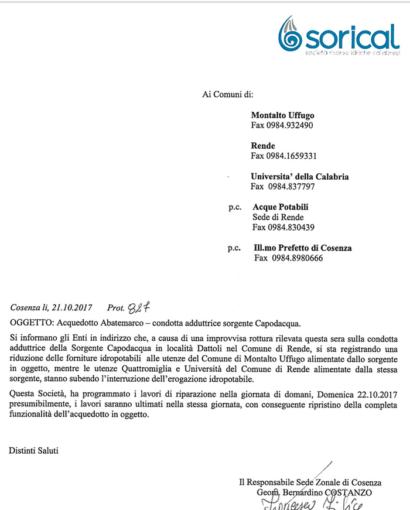 Rottura Capodacqua, stop erogazione a Rende e Montalto. Domani 22 ottobre la riparazione 01 410x510