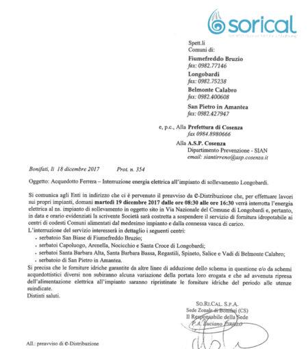 Lavori ENEL, domani stop erogazione tra Belmonte e Longobardi 05 450x510
