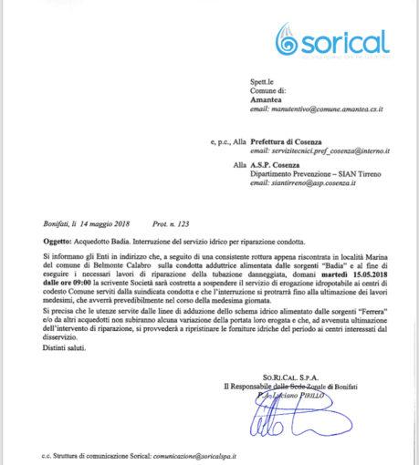 Amantea, domani stop erogazione per riparazione condotta Badia 12 459x510