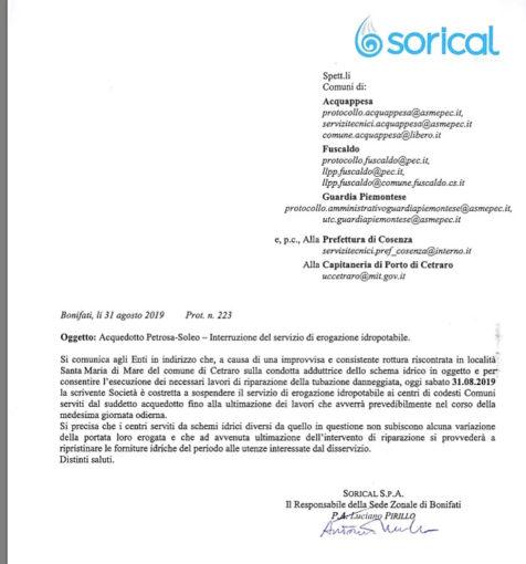 Interruzione a Cetraro, Acquappesa e Guardia 12 476x510