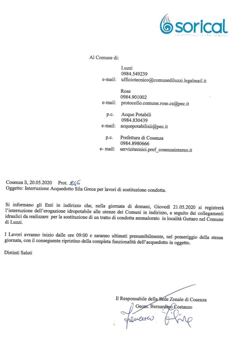 Luzzi e Rose, domani stop erogazione per lavori img 3927