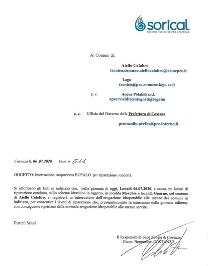 Interruzione acquedotto Bufali per Aiello e Lago img 4381 702x900