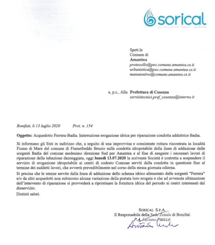 Stop erogazione acquedotto Ferrera per Amantea img 4436