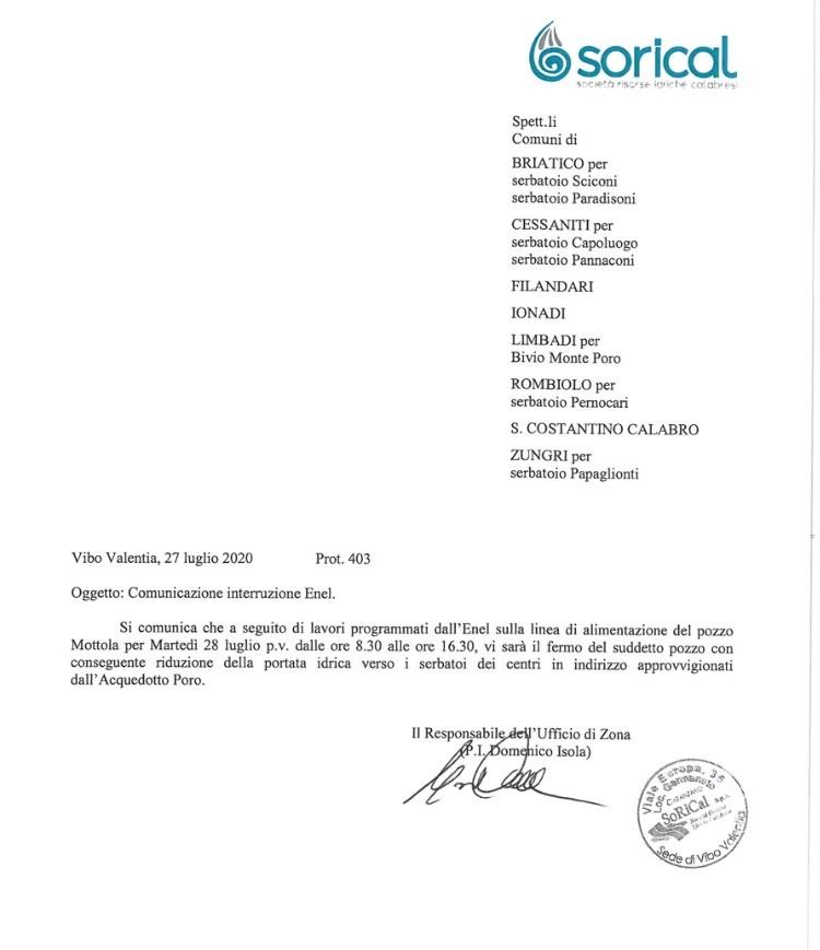Acquedotto Poro, domani interruzione per lavori ENEL img 4577
