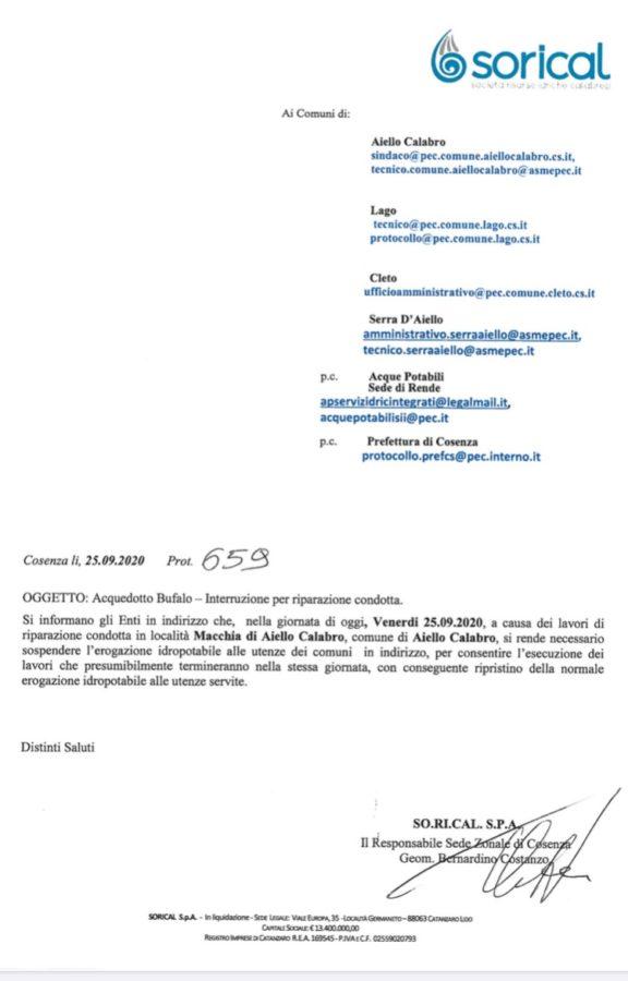 Lago, Aiello, Cleto e Serra d'Aiello, interruzione per riparzione image 5 576x900
