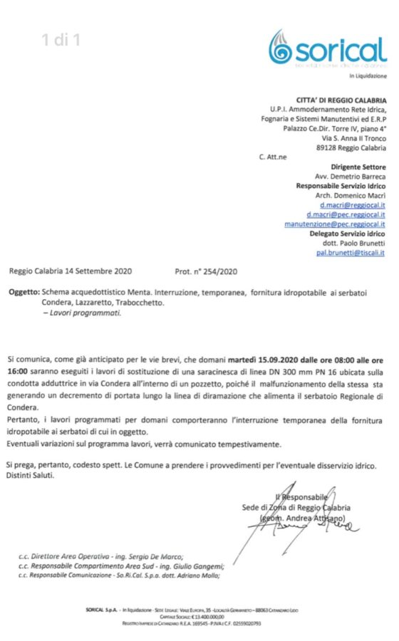 Domani interruzione acquedotto Menta per serbatoi Trabocchetto, Condera e Lazzaretto img 5042 560x900