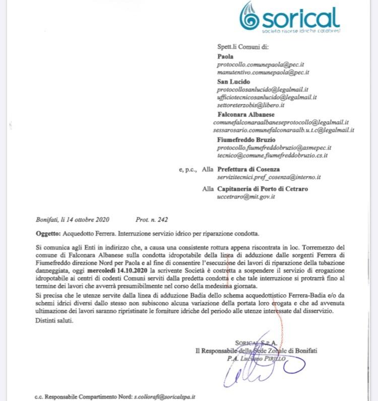 Interruzione acquedotto Ferrera per Paola img 5248
